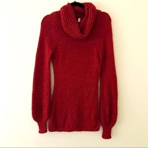 ANTHROPOLOGIE Red Cowl Neck Bell Sleeve Sweater